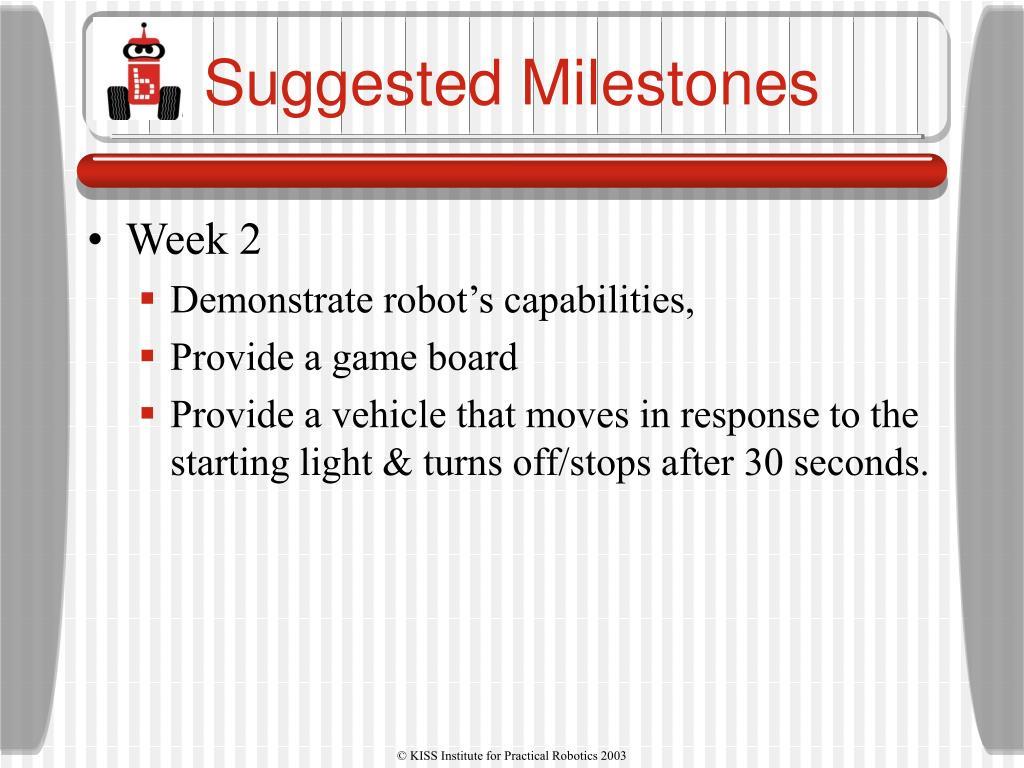 Suggested Milestones