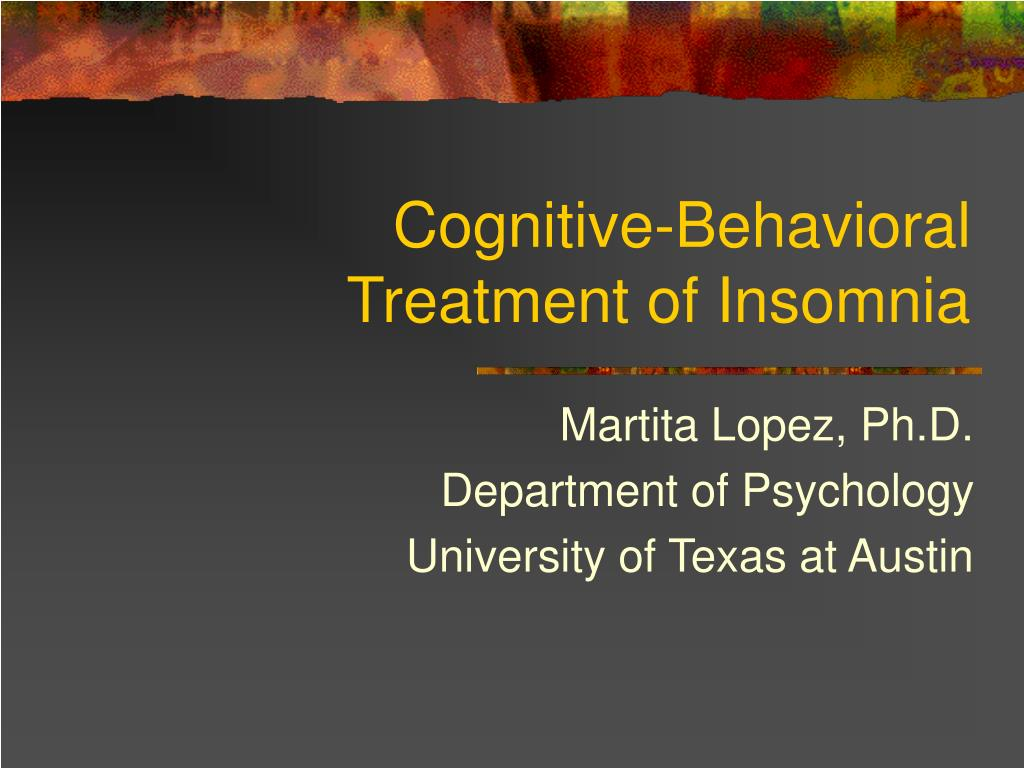 cognitive behavioral treatment of insomnia l.