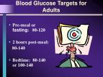 blood glucose targets for adults