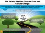 the path to resident directed care and culture change