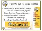 how we will publicize the bee