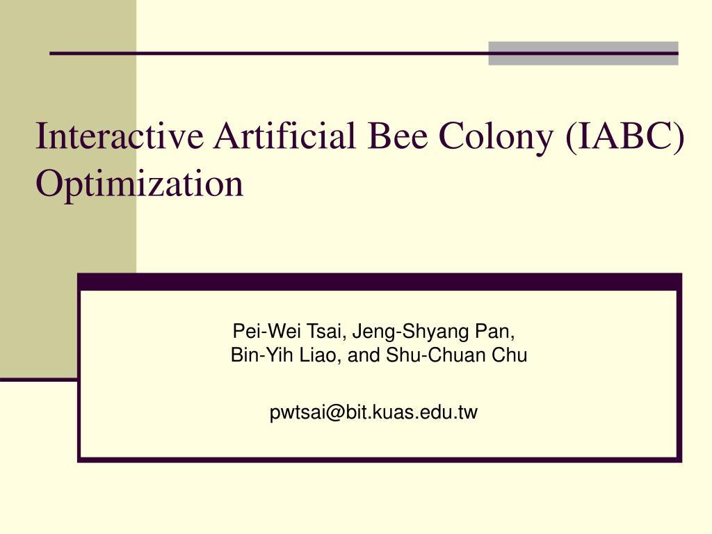interactive artificial bee colony iabc optimization l.