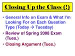 closing up the class