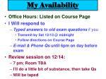 my availability