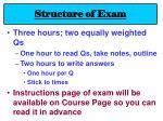 structure of exam