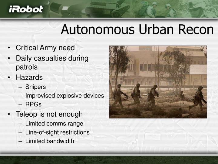 Autonomous urban recon