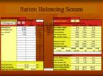 ration balancing screen