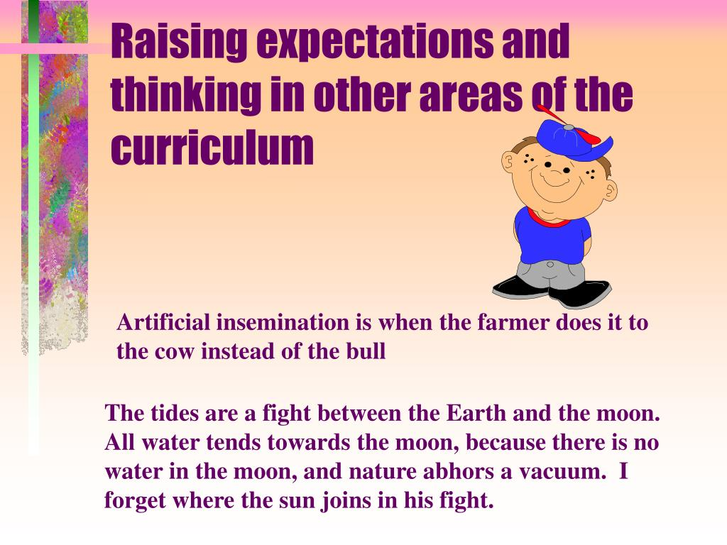 Raising expectations and thinking in other areas of the curriculum