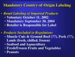 mandatory country of origin labeling