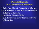 potential impacts u s consumers are indifferent