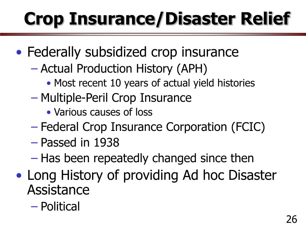 crop insurance disaster relief l.