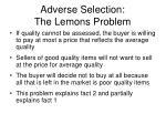 adverse selection the lemons problem