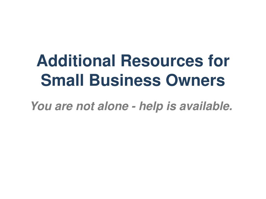 Additional Resources for Small Business Owners