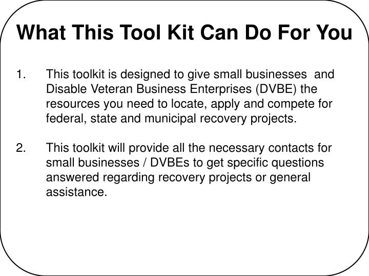 What this tool kit can do for you