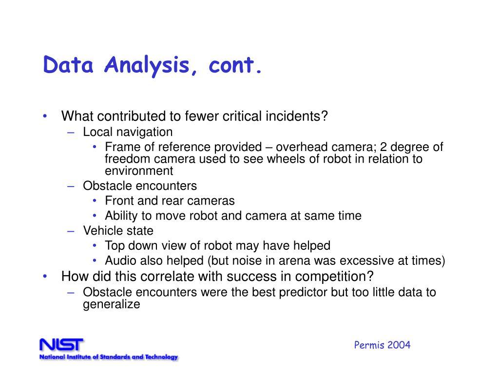 Data Analysis, cont.
