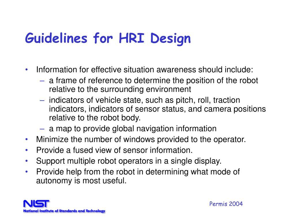 Guidelines for HRI Design