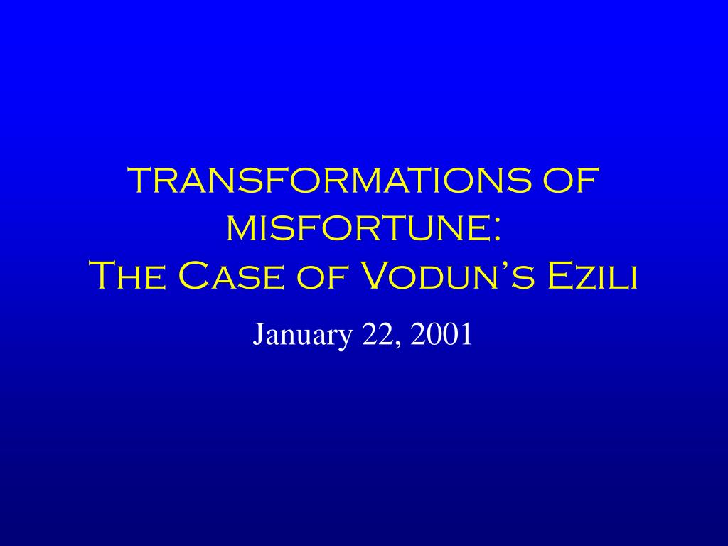 transformations of misfortune the case of vodun s ezili l.
