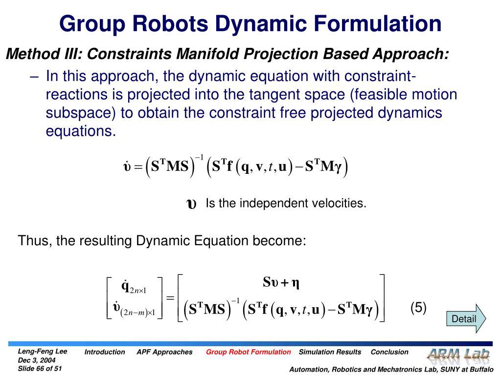 Group Robots Dynamic Formulation