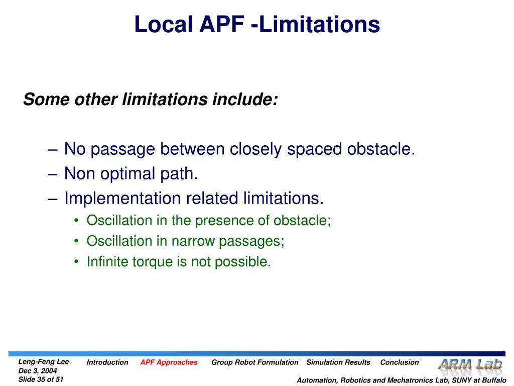 Local APF -Limitations