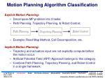 motion planning algorithm classification