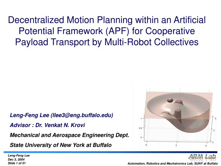 Decentralized Motion Planning within an Artificial Potential Framework (APF) for Cooperative Payload...