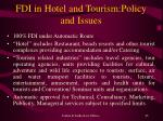 fdi in hotel and tourism policy and issues