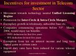 incentives for investment in telecom sector