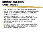 biocid testing continued