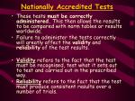 nationally accredited tests