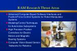ram research thrust areas