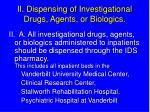 ii dispensing of investigational drugs agents or biologics