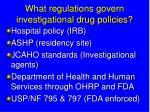 what regulations govern investigational drug policies