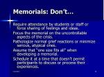memorials don t