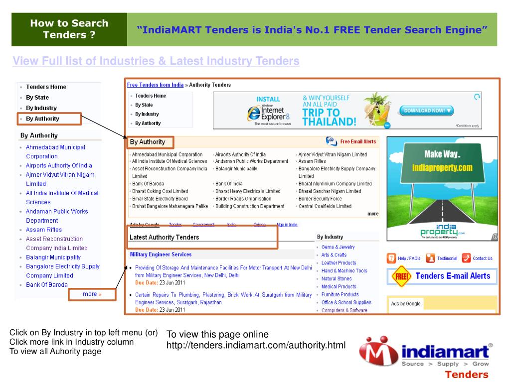 PPT - How to search tenders at Tenders Indiamart com