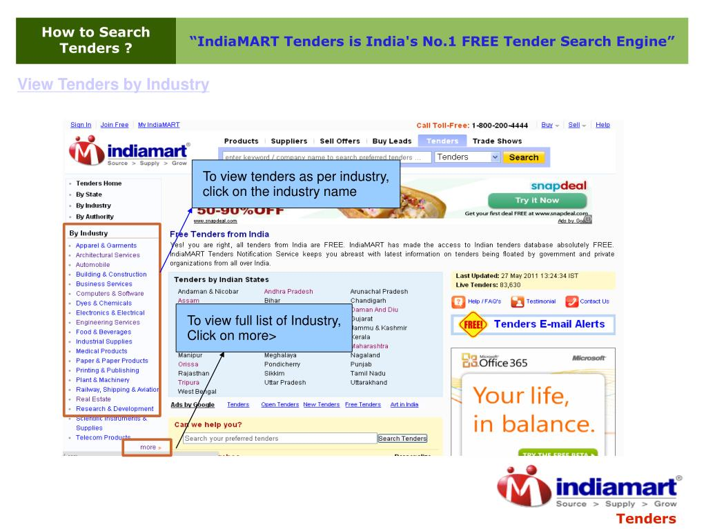 PPT - How to search tenders at Tenders Indiamart com PowerPoint