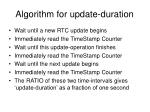 algorithm for update duration
