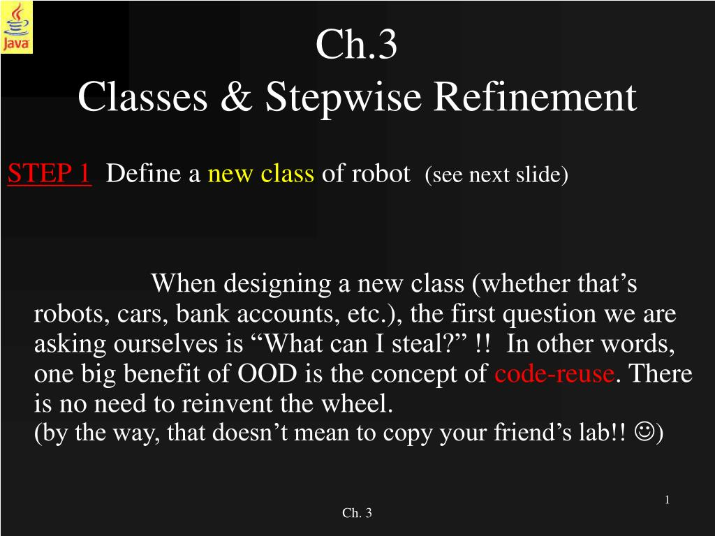 ch 3 classes stepwise refinement l.