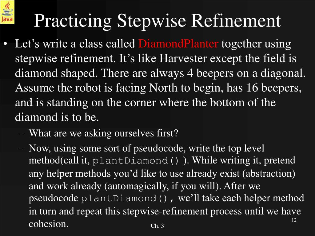 Ppt Ch 3 Classes Stepwise Refinement Powerpoint Presentation Free Download Id 211545