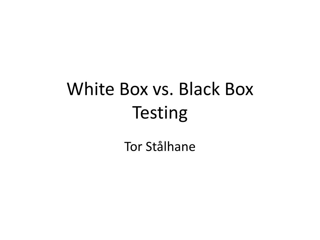 white box vs black box testing l.