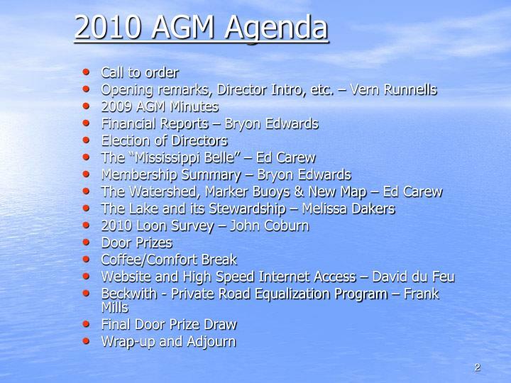 2010 agm agenda