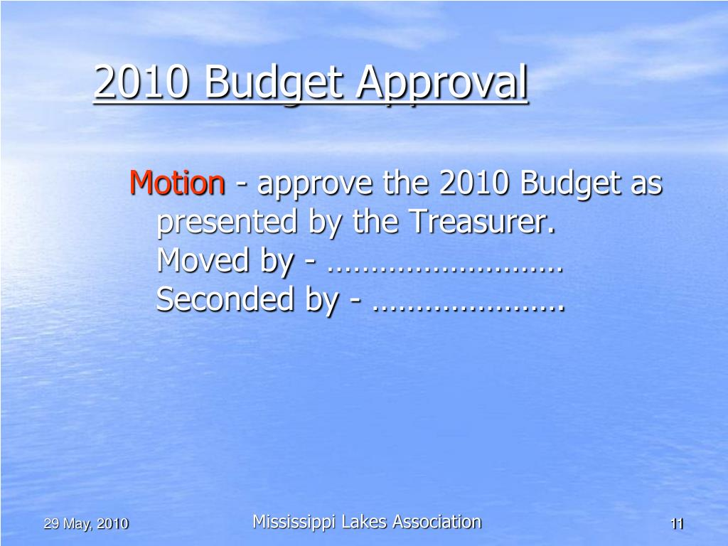 2010 Budget Approval
