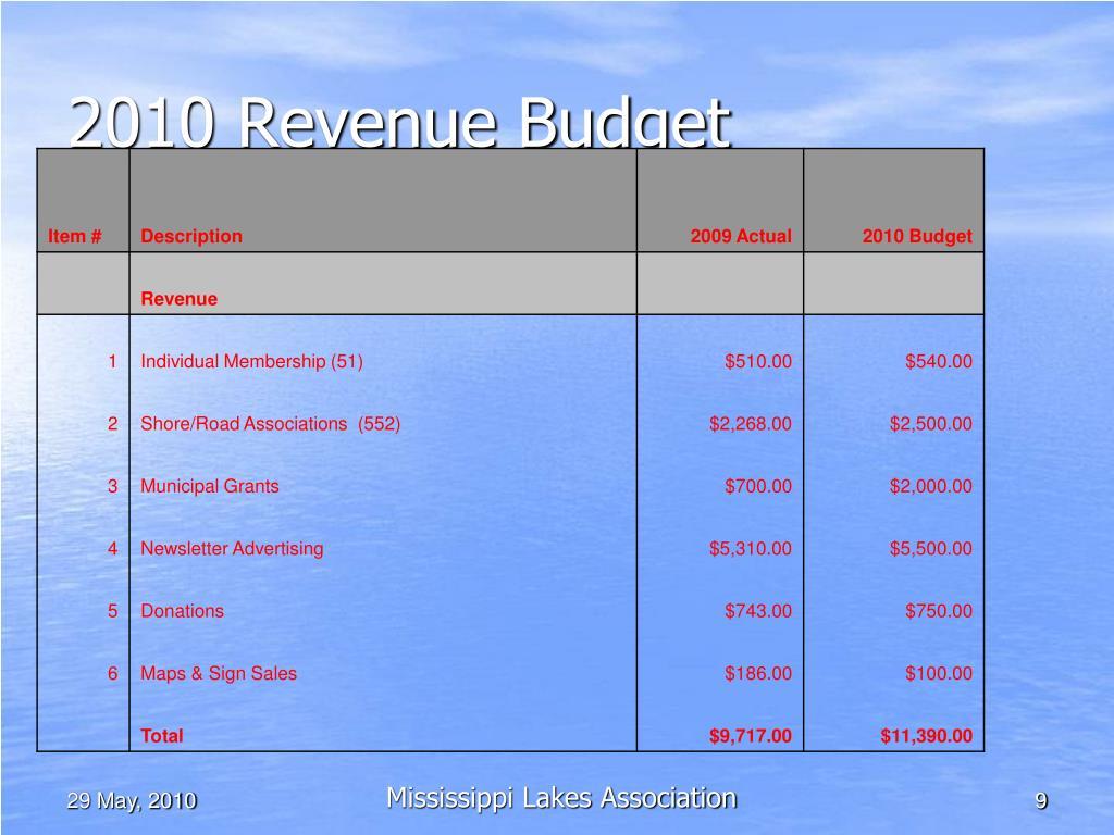 2010 Revenue Budget