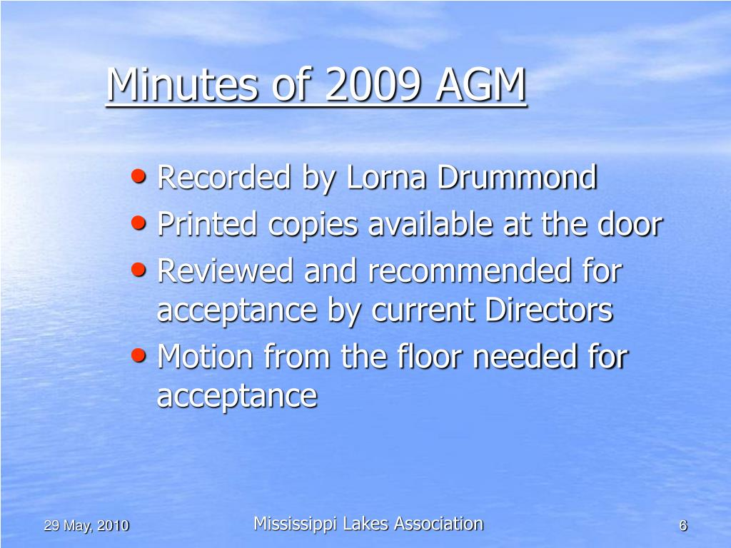 Minutes of 2009 AGM