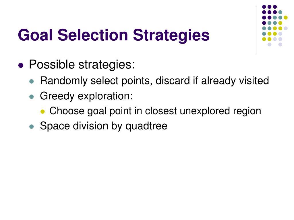 Goal Selection Strategies