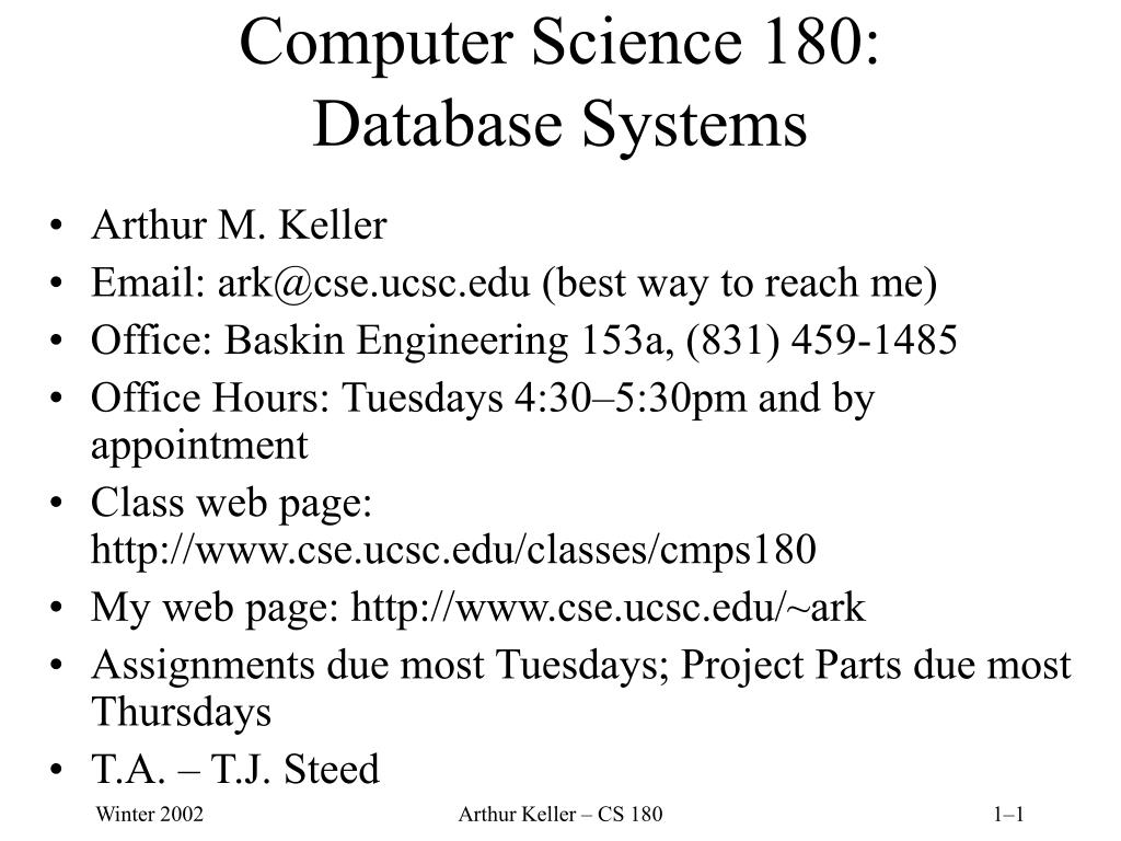 computer science 180 database systems l.