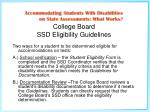 college board ssd eligibility guidelines