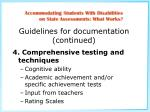 guidelines for documentation continued