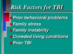 risk factors for tbi