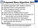proposed bees algorithm ba25