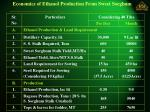 economics of ethanol production from sweet sorghum